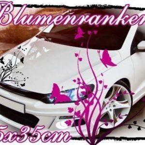 Blumenranke Aufkleber Auto Motorhaube Blumen Schmeterlinge