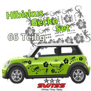 Hibiskus Gecko Set Autoaufkleber